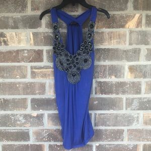 M ❤️ M Brand Blue Tank Top With Black Beading